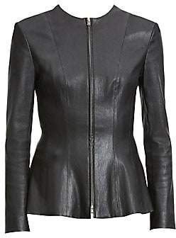 Theory Women's Bristol Leather Peplum Jacket - Size 0