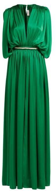 Maison Rabih Kayrouz Draped Charmeuse Gown - Womens - Green