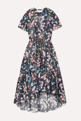 Peter Pilotto Floral-print Cotton Midi Dress - Navy