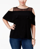 INC International Concepts Plus Size Illusion Cold-Shoulder Top, Only at Macy's