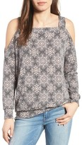 Bobeau Women's Cold Shoulder Print Sweatshirt