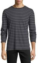 Majestic Cotton/Cashmere Crewneck Long-Sleeve Striped T-Shirt