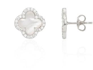 Mother of Pearl Auree Jewellery Irini Sterling Silver & Clover Stud Earrings
