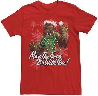 Star Wars Men's Chewbacca Tangled Christmas Lights Graphic Tee