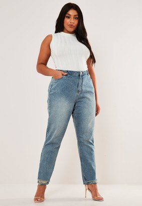 Missguided Plus Size Blue Wrath High Waisted Straight Jeans
