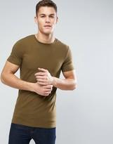 Asos Longline Muscle T-Shirt In Brown