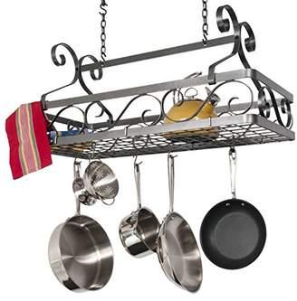 Enclume Handcrafted Basket Rack w 12 Hooks Hammered Steel