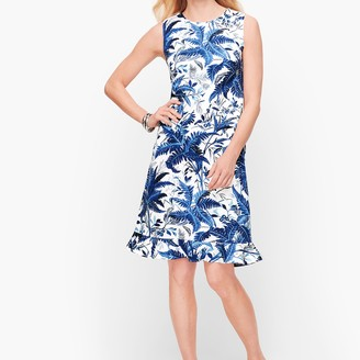 Talbots Sateen Flounce Hem Floral A-Line Dress