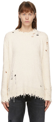 R 13 Off-White Chenille Distressed Sweater