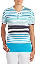 Allison Daley Petites Lace-Up Stripe Print Short Sleeve Knit Top