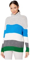Vince Camuto Long Sleeve Color Block Turtleneck Sweater (Peacock) Women's Sweater