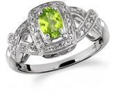 1/2 CT TW Oval-Shaped Peridot Silver Halo Ring with Diamond Accents by JewelonFire