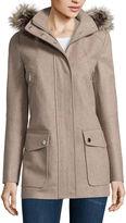 A.N.A a.n.a Faux-Fur Trim Casual Zip Wool-Blend Coat