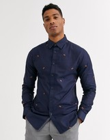 Ted Baker shirt with tiger coupe print in navy