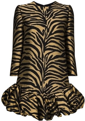 KHAITE Lorie zebra-print mini dress