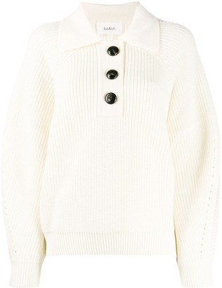 BA&SH Button-Up Waffle Knit Jumper