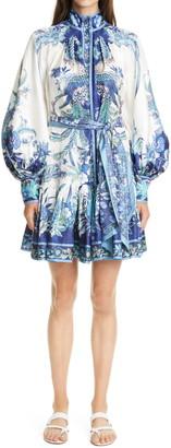 Zimmermann Glassy Floral Long Sleeve Silk Minidress