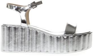 Strategia 70mm Wedged Silver Leather Sandal