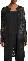 Ralph Lauren Cora Laser-Cut Leather Coat, Black
