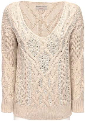 Ermanno Scervino Crystal Embellished Knit V Neck Sweater