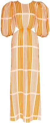 Johanna Ortiz Whispered Sunset cutout striped linen maxi dress