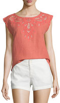 Joie Kinski Embroidered-Eyelet Short-Sleeve Top