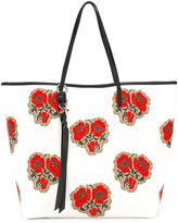 Alexander McQueen Skull poppy print shopper tote - women - Cotton/Leather - One Size
