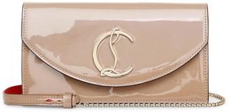 Christian Louboutin Loubi54 patent shimmer nude clutch