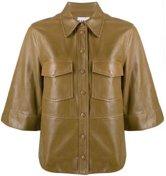 Ganni Faux-Leather Button-Up Shirt