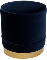Kim Salmela Piper Stool - Indigo Velvet frame, brass; upholstery, indigo