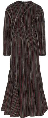 Y/Project leather-piping striped maxi dress