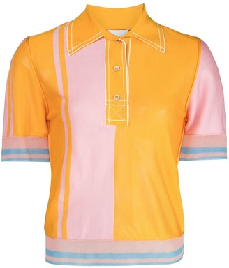 I Am Chen Silk Colour-Block Polo Shirt