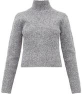 Tibi Zip-through High-neck Ribbed Sweater - Womens - Grey