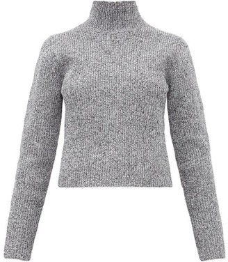 Tibi Zip-through High-neck Ribbed Sweater - Womens - Grey
