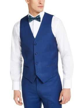 Alfani Men's Slim-Fit Stretch Blue Tuxedo Vest, Created for Macy's