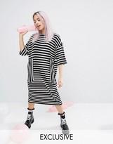 Monki Stripe Oversized Midi T-shirt Dress