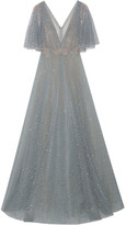 Marchesa Embellished Flocked Glittered Tulle Gown - Gray