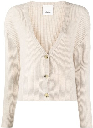 Allude ribbed knit V-neck cardigan