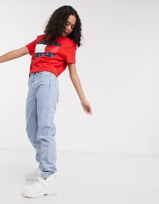 Tommy Jeans large flag logo t-shirt in red