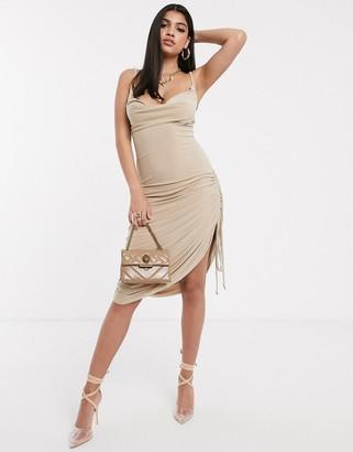New Girl Order ruched mini to midi dress-Beige