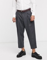 Shelby & Sons cropped wide leg smart trouser with single pleat in grey