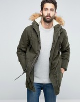 !solid Solid Parka With Faux Fur Hood