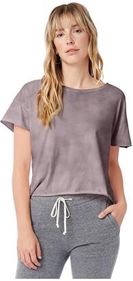 Alternative Cropped Raw Edge Tee (Light Mauve Element Wash) Women's Clothing