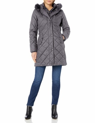 Larry Levine Women's 3/4 Diamond Quilted with Bib and Ff Trimmed Hood