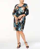 NY Collection Plus Size Floral-Print Necklace Dress