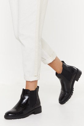 Nasty Gal Womens Faux Croc Stud Rand Chelsea Boot - Black