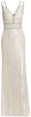 Jenny Packham Sequin Beaded Column Gown
