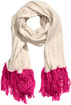 H&M Knit Scarf - Light beige/cerise - Ladies