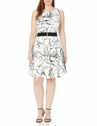 Julian Taylor Women's Plus Size Scribble Printed Fit and Flare Sleeveless Dress