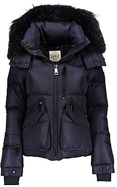 SAM. Women's Fox Fur-Trim Hooded Puffer Jacket